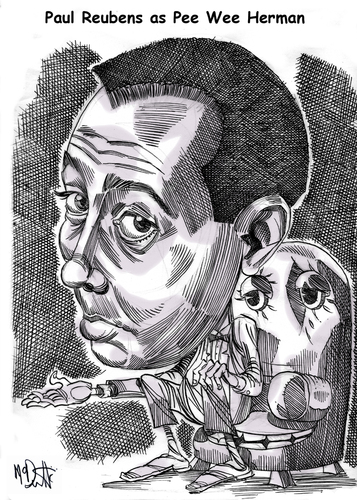 Cartoon: The Pee Wee Hermon Show (medium) by Cartoons and Illustrations by Jim McDermott tagged caricatures,actor,tvshow,peeweeherman