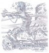 Cartoon: Mummy Running (small) by Cartoons and Illustrations by Jim McDermott tagged mummys,scary,monsters,horror,pencilsketch