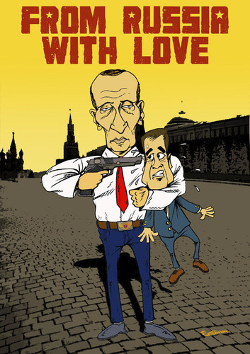 Cartoon: From russia with love (medium) by sebtahu4 tagged russian,president,dmitry,medvedev,prime,minister,vladimir,putin