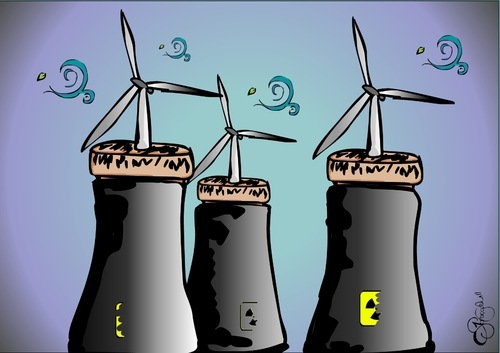 Cartoon: no more nuclear (medium) by duygu saracoglu tagged santral,wind,power,nuclear