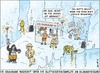 Cartoon: Schneeschmelze am Kilimandscharo (small) by thomas novotny tagged schnee,berg,afrika,gletscher,schmelzen,melt,glacier,snow,africa,klima,climate,change,kilimanjaro,kilimandscharo,monkey,affe,forscher,tanzen,dance,party,alcohol,alkohol,urin,erbrechen,vomit,bar,box