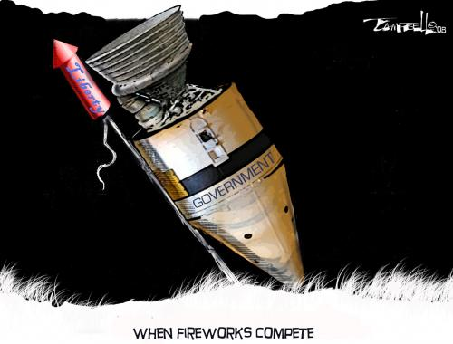 Cartoon: When Fireworks Compete (medium) by CARTOONISTX tagged government,liberty