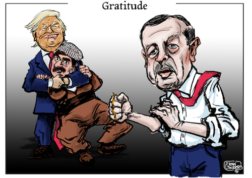 Cartoon: Gratitude (medium) by jean gouders cartoons tagged trump,erdogan,syria,kurds,trump,erdogan,syria,kurds