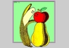 Cartoon: Natural Love (small) by srba tagged adam,eve,natural,love,bananas,apples,pears,valentines