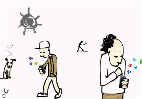 Cartoon: Disconnecting people (medium) by ANTRUEJO tagged moviles,telephone,mobile,telefono
