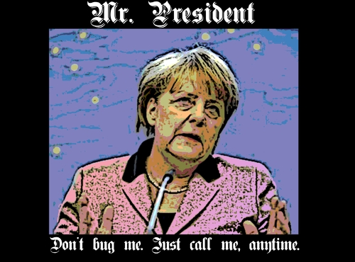 Cartoon: Angela Merkel NSA Meme (medium) by aceart tagged angela,merkel,german,germany,chancellor,nsa,spying,snoop,eavesdrop,eavesdropping,wiretapping,politics,diplomacy,surveillance,espionage,scandal,online,games,gaming,slots,alljackpots