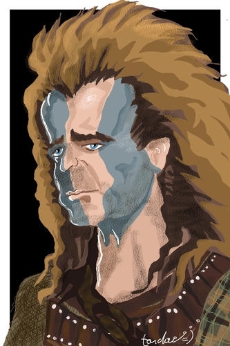 Cartoon: Mel Braveheart Gibson (medium) by Bravemaina tagged braveheart,william,wallace,mel,gibson,scotland
