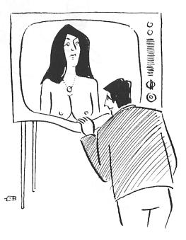 Cartoon: Curiousity (medium) by Mihail tagged tv,naked,woman,man,curious,
