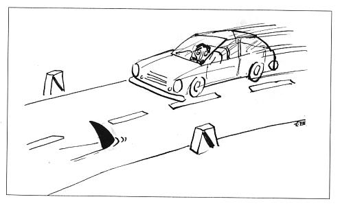 Cartoon: Predators (medium) by Mihail tagged car,predator,shark,road,way,driving,