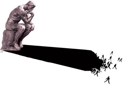 Cartoon: The Thinker (medium) by Mihail tagged thinking,shadow