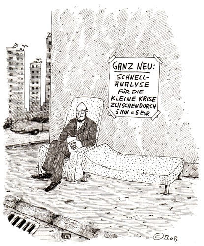 Cartoon: Ganz neu (medium) by Christian BOB Born tagged analyse,couch,straße,therapie,krise