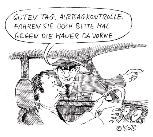 Cartoon: Guten Tag (medium) by Christian BOB Born tagged auto,airbag,kontrolle,fahrer,polizei,mauer,auto,kontrolle,fahrer,polizei,mauer,verkehr,straßenverkehr,sicherheit,regeln,polizist,verkehrspolizist,airbag,dummy