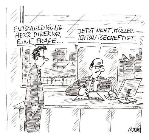 Cartoon: Scheff (medium) by Christian BOB Born tagged arbeit,chef,boss,direktor,angestellter,mitarbeiter,hierarchie,arbeit,chef,direktor,boss,angestellter,mitarbeiter,hierarchie