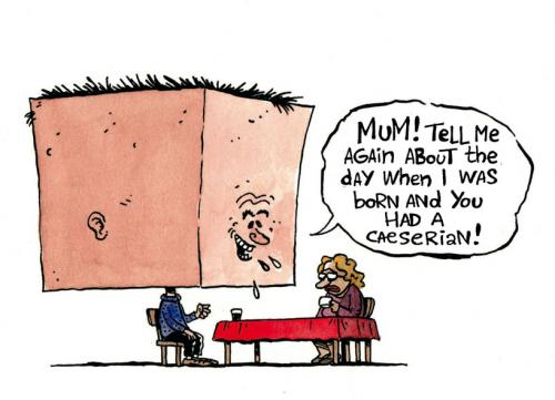 Cartoon: Caesarean (medium) by Kim Duchateau tagged birth,caesarean,kaiserschnitt,