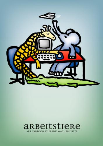 Cartoon: Arbeitstiere (medium) by constable tagged animal,humor,cartoon,fun,elephant,giraffe,crocodile,office,computer,desk,group,wachtmeister,2008