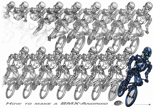 Cartoon: making of the metallic rider (medium) by elle62 tagged rider,metallic,robot,sports,bmx