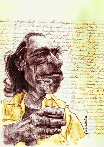 Cartoon: Charles Bukowski (medium) by hakanarslan tagged charlesbukowski,hakanarslan