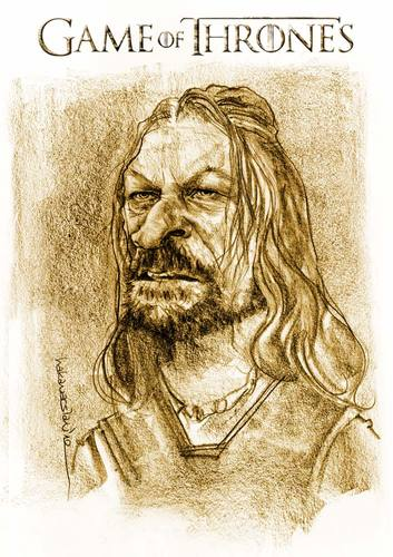 Cartoon: Eddard STARK (medium) by hakanarslan tagged game,of,thrones