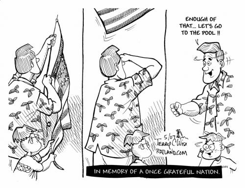 Cartoon: Modern Memorial Day (medium) by terry tagged memorial,day,vacation,holiday