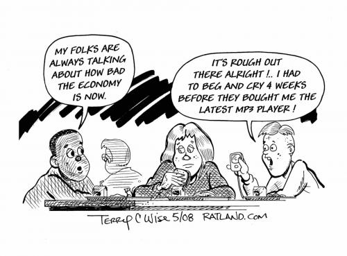 Cartoon: The economy is rough out there (medium) by terry tagged economy,gas,oil,dollar,stocks
