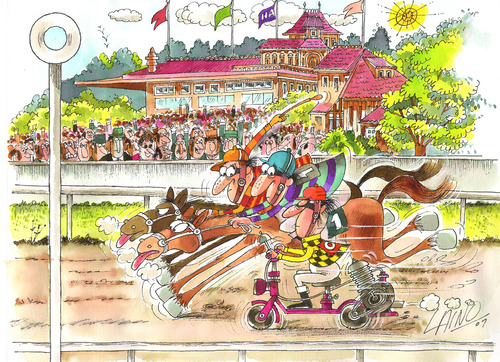 Cartoon Horse Racing Medium By LAINO Tagged Horseracing