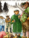 Cartoon: Halali (small) by dojan tagged jäger,jagd,waffe,flinte,wald,hochsitz,reh,hirsch,wildschwein,opfer,hund,blattschuß,abschuß