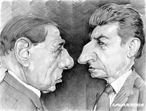 Cartoon: berlusconi  sarkozy (medium) by salnavarro tagged caricature,pencil,international,politcs