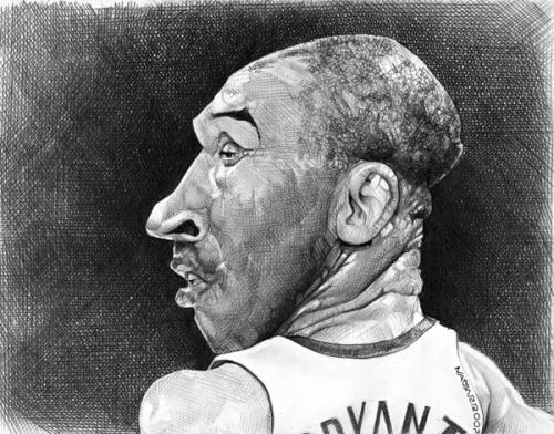 Cartoon: Kobe Bryant (medium) by salnavarro tagged caricature,sports,basketball,nba