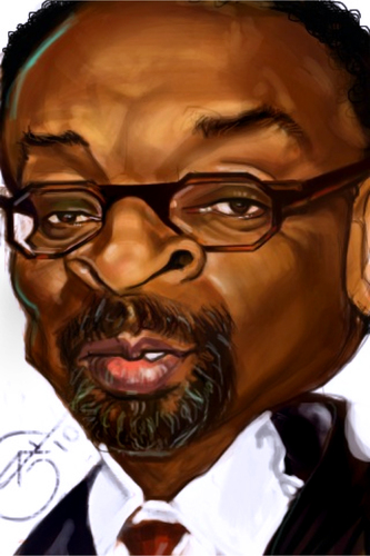 Cartoon: spike lee (medium) by salnavarro tagged caricature,digital,finger,painted,spike,lee,another,joint