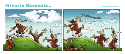 Cartoon: Miracle Moments (medium) by Stan Groenland tagged monk,believing,peace,religion,art,comic,miracles,cartoon