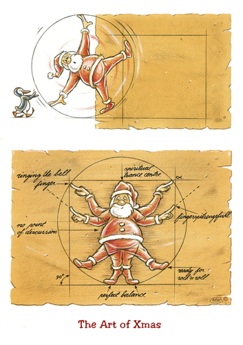 Cartoon: The Art of Xmas (medium) by Stan Groenland tagged xmas,christmas,cartoon,santa,humour,happy,holidays,winter,wonderland