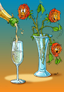 Cartoon: Thirsty Roses (small) by Stan Groenland tagged cartoon,flowers,art,alcohol,drinking,fun,rozes,cheers
