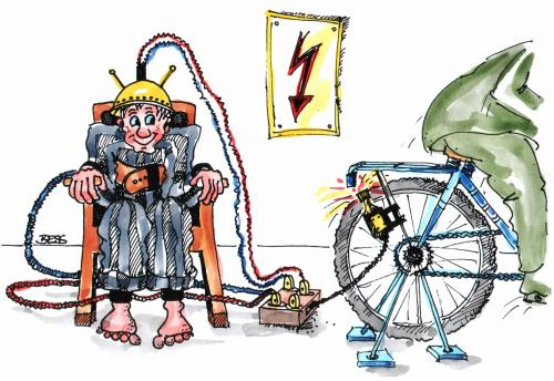 Cartoon: Elektrischer Stuhl (medium) by besscartoon tagged elektrizität,knast,todesstafe,gefängnis,sträfling,mann,gewalt,bess,besscartoon,fahrrad