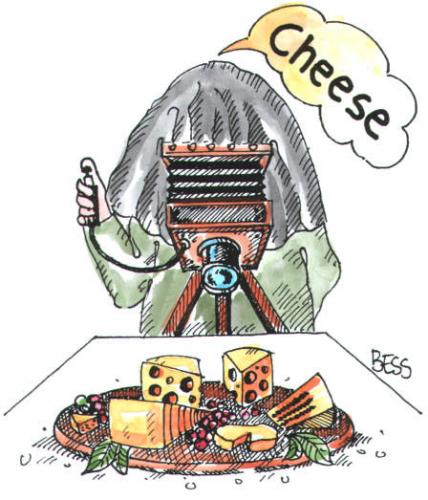 Cartoon: Cheese (medium) by besscartoon tagged essen,fotograf,mann,besscartoon,bess,käse