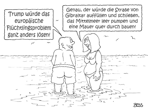 Cartoon: die Lösung (medium) by besscartoon tagged donald,trump,flüchtlinge,mittelmeer,gibraltar,mauer,lösung,flüchtlingsproblem,italien,spanien,griechenland,migranten,politik,eu,europa,bess,besscartoon