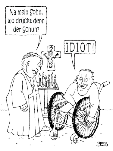Cartoon: Feingefühl (medium) by besscartoon tagged pfarrer,schuh,amputiert,christentum,religion,kirche,katholisch,evangelisch,jesus,kreuz,inri,idiot,bess,besscartoon