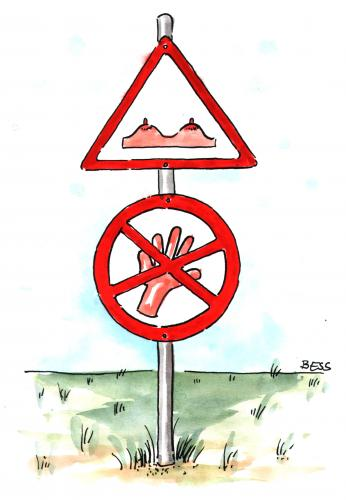 Cartoon: Finger weg (medium) by besscartoon tagged verboten,busen,verkehrsschild,besscartoon,bess