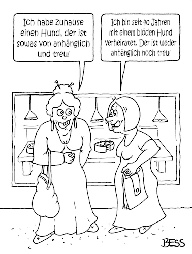 Cartoon: Haustiere (medium) by besscartoon tagged tiere,hund,hundeliebe,haustier,anhänglich,treu,blöder,mann,frau,paar,beziehung,ehe,bess,besscartoon