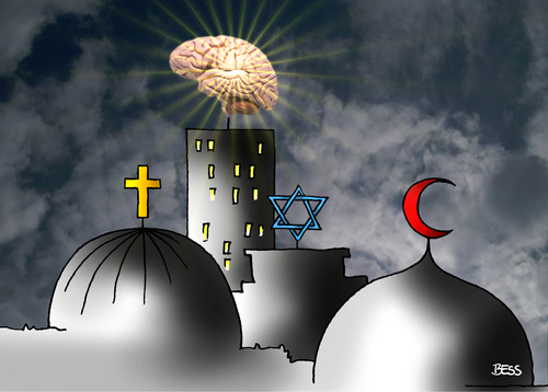 Cartoon: Hirn siegt (medium) by besscartoon tagged besscartoon,bess,himmel,religion,hirnlos,hirn,moschee,kirche,judentum,islam,christentum