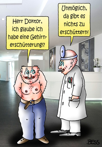 Cartoon: hirnlos (medium) by besscartoon tagged arzt,patient,doktor,gesund,hirnlos,gehirnerschütterung,krank,bess,besscartoon