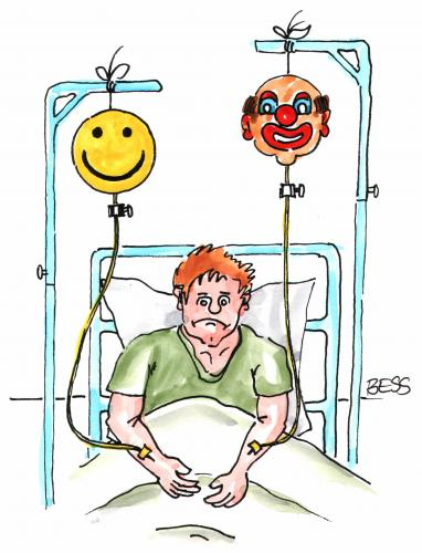 Cartoon: Infusion (medium) by besscartoon tagged besscartoon,bess,krank,kankenhaus,mann,infusion,clown,smilie