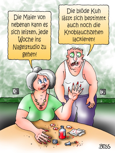Cartoon: Nagelpflege (medium) by besscartoon tagged paar,ehe,beziehung,nagelstudio,nägel,lackieren,knoblauchzehen,arm,reich,blöde,kuh,bess,besscartoon