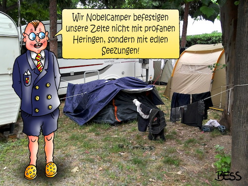 Cartoon: Nobelcamper (medium) by besscartoon tagged camping,urlaub,nobelcamping,heringe,seezungen,frofan,nobel,sommer,zelt,zelten,ferien,snob,bess,besscartoon