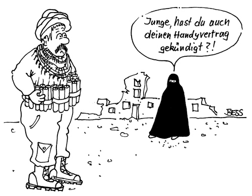 Cartoon: ohne Titel (medium) by besscartoon tagged besscartoon,bess,handy,dynamit,burka,selbstmordattentäter,islam