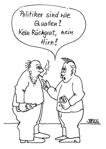 Cartoon: Politiker... (medium) by besscartoon tagged männer,politiker,politik,quallen,hirn,rückgrat,bess,besscartoon