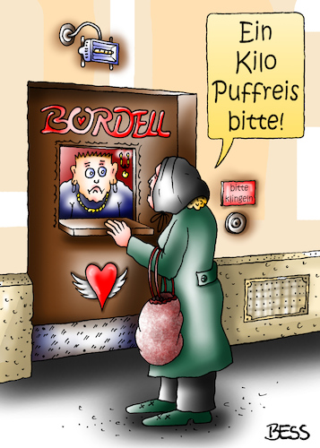 Cartoon: Puffreis (medium) by besscartoon tagged bordell,puff,frau,mann,einkaufen,puffreis,bess,besscartoon