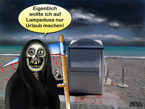 urlaub auf lampedusa by besscartoon philosophy cartoon toonpool. Black Bedroom Furniture Sets. Home Design Ideas