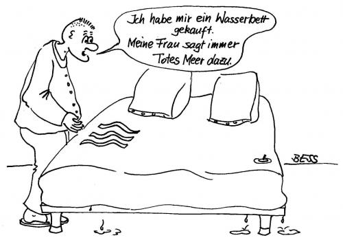 Wasserbett by besscartoon philosophy cartoon toonpool for Bett spanisch