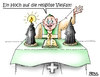 Cartoon: ein Hoch... (small) by besscartoon tagged islam,burka,pfarreer,religion,christentum,muslime,frauen,katholisch,religiöse,vielfalt,kerze,kirche,bess,besscartoon