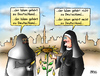 Cartoon: Schwarz-Seher (small) by besscartoon tagged religion,islam,burka,nonne,migration,integration,christentum,deutschland,bess,besscartoon